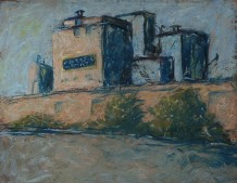 "Abandoned grain elevator, rendered in pastel, titled ""Still Standing."""